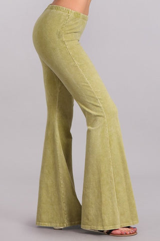 Cactus Green Mineral Washed Bell Bottoms