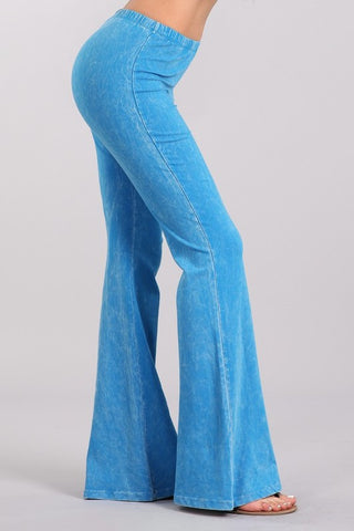Bright Azure Blue Mineral Washed Bell Bottom Pants