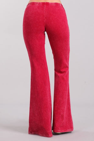 Ruby Red Raspberry Mineral Washed Bell Bottom Pants