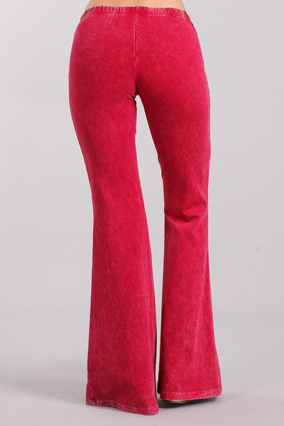 Bright Raspberry Red Mineral Washed Bell Bottom Pants