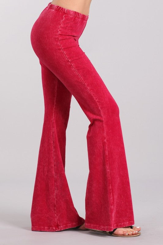 Bright Ruby Red Mineral Washed Bell Bottom Pants