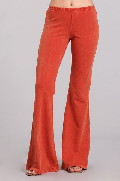Rust Mineral Washed Bell Bottoms