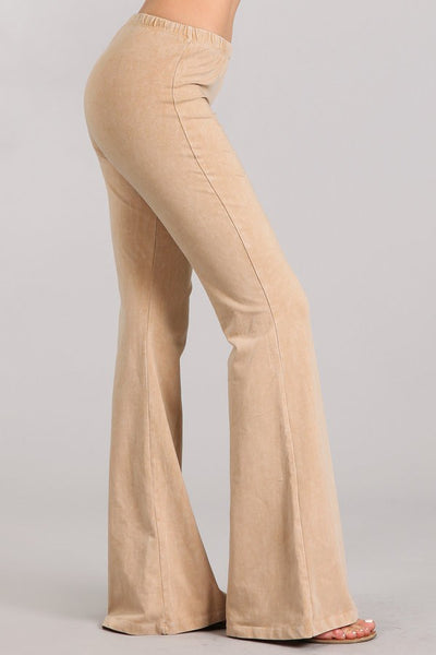 Beach Sand Mineral Washed Bell Bottom Pants