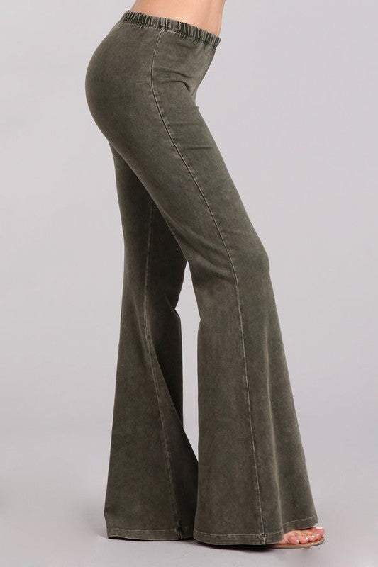Dark Moss Green Mineral Washed Bell Bottom Pants