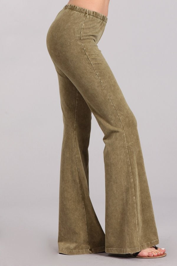 Olive Green Mineral Washed Bell Bottom Pants