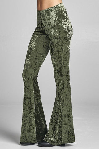 """Pining For You"" Pine Green Crushed Velvet Bell Bottoms"