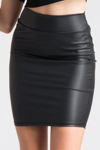 """Ole Bow Chicka Wow Wow"" Black faux Leather Mini Skirt"