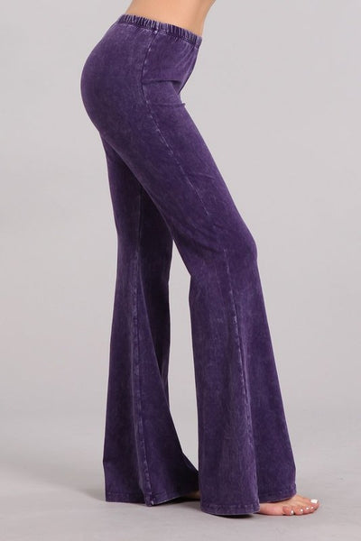 Grape Purple Mineral Washed Bell Bottom Pants