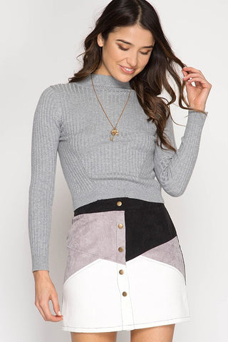 """Shades of Grey"" Corduroy Mini Skirt"