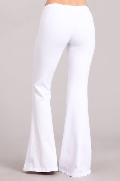 Bright White Mineral Washed Bell Bottom Pants