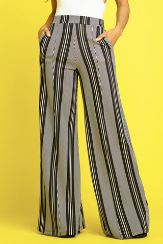 """Show Me Your Stripes"" Wide Leg Black & White Pinstripe Bell Bottoms"