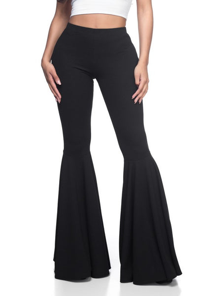 """Ole Juke Box Hero"" Black Ruffle Bell Bottom Pants"