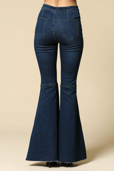 Keep on Truckin' ~ Denim Frayed Bell Bottom Jeans ~ Medium/Dark Blue Denim
