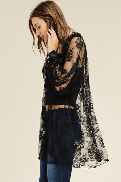 """Ole Elivira"" Black Lace Bell Sleeve Overlay Tunic Top"