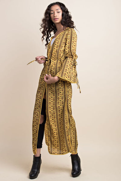 """Ole Goldie Lox"" Mustard Floral Aztec Bell Sleeve Duster Cardigan"
