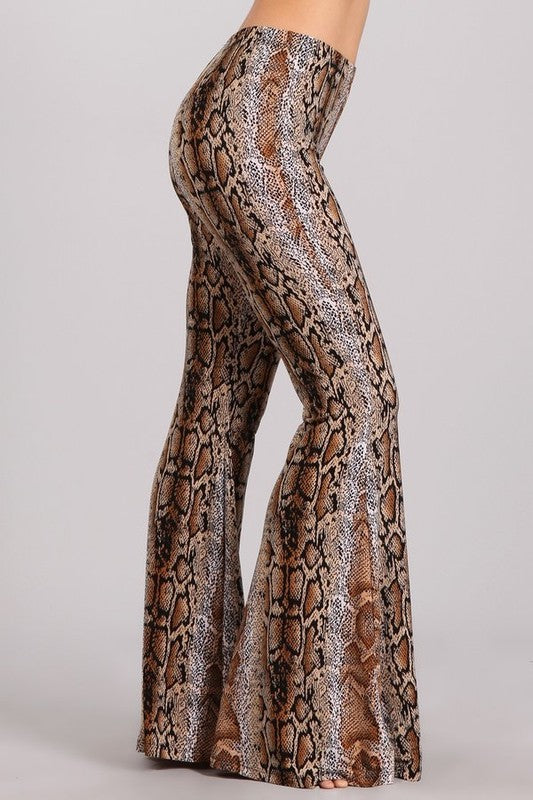 """Ole Snake Bite"" Golden Brown Snakeskin Print Bell Bottom Pants"