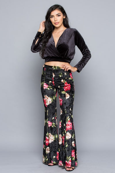 """In Full Bloom"" Crushed Velvet Floral Bell Bottoms ~ FINAL SALE"