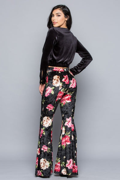 """In Full Bloom"" Crushed Velvet Floral Bell Bottoms"