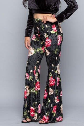 """In Full Bloom"" Crushed Velvet Floral Bell Bottoms ~ PREORDER 9/28"