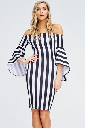 """Ole San Quentin"" Black & White Stripe Ruffle Bell Sleeve Dress"