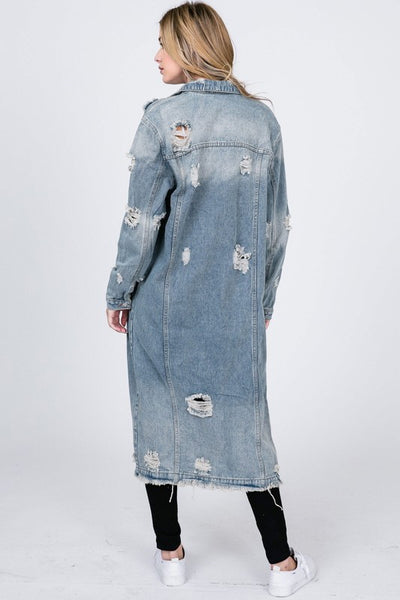 """Ole Downtown Train"" Distressed Denim Trench Duster Jacket"