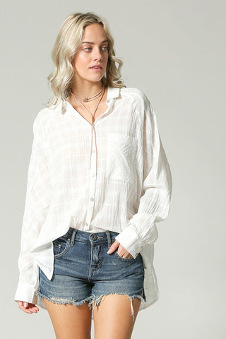 """Ole White Winged Dove"" Oversized Boyfriend Style Button Down Shirt"