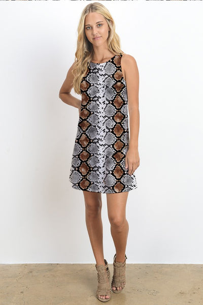 """Ole Snake Eyes"" Snakeskin Print Tank Dress"