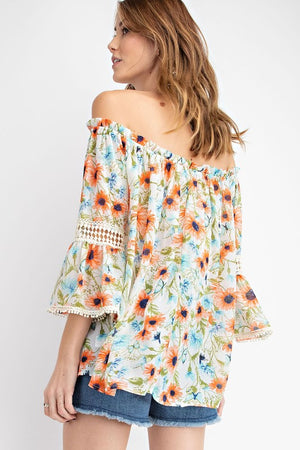 """Ole Gerbera Daisy"" Vintage Floral Print Off the Shoulder Bell Sleeve Peasant Top"