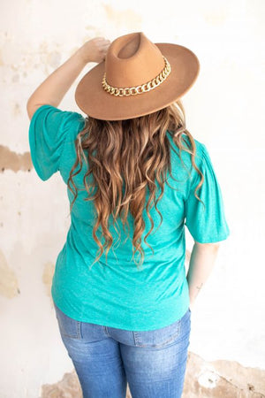 """Ole Flutter Sleeve"" Scoop Neck Basic Tee ~ Turquoise/Ash"