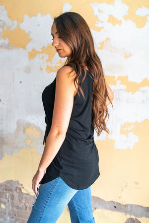 """Ole Basic Betty"" Solid Black Basic Tank Top"