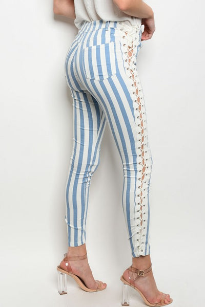 """Ole Twisted Sister"" Denim Blue & White Stripe Lace Up Skinnies"