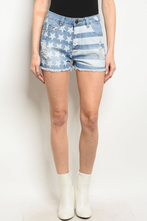 """Ole Painted On Patriot"" Distressed Stars & Striped Cut Off Jean Shorts"
