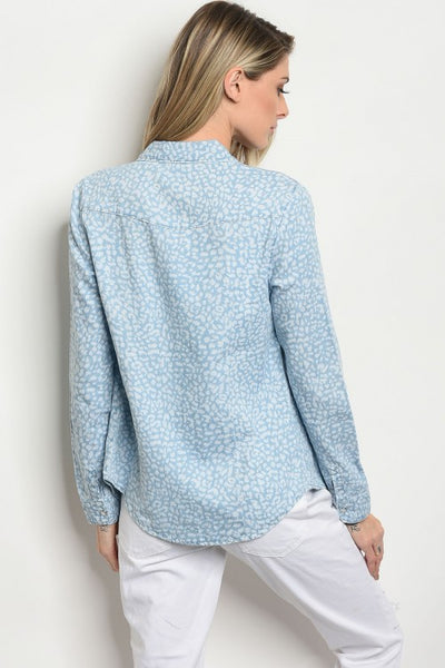 """Ole Lay Lady Lay"" Leopard Print Denim Pearl Snap Button Down"