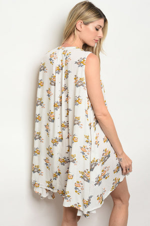"""Ole Ventura Highway"" Vintage Floral Print Tunic Tank Dress"