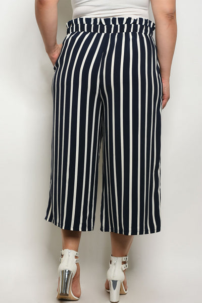 """Ole Sailor Jenny"" Navy & White Stripe Wide Leg Cropped Pants"