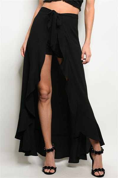 """Ole Rock The Casbah"" Black Ruffle Maxi Shorts"