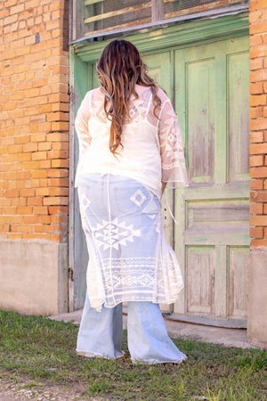 """Ole Night Moves"" Ivory Lace Duster Cardigan"