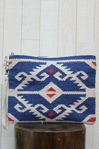 """All Aboard"" Woven Aztec Design Oversized Saddleblanket Clutch Purse"