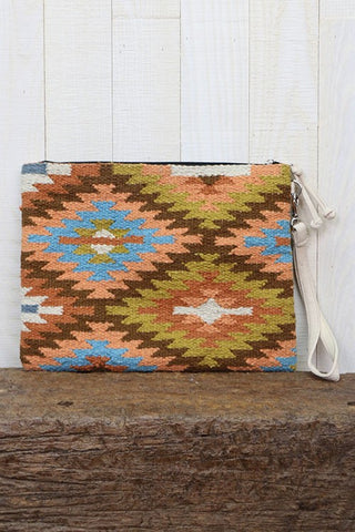 """The Traveler"" Woven Aztec Design Oversized Saddleblanket Clutch Purse"