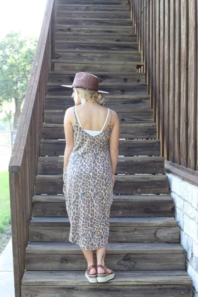 """Ole Higher Ground"" LEOPARD PRINT Hi Low Maxi Tank Top"