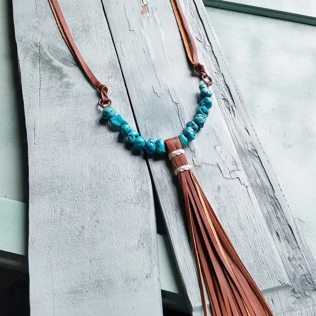 Turquoise Nugget Necklace with Wrapped Brown Leather Tassel