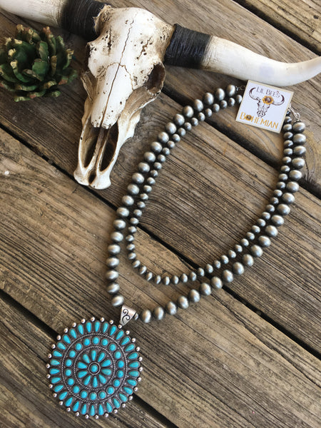 """Ooh Barracuda"" Navajo Pearl Turquoise Mandala Necklace"