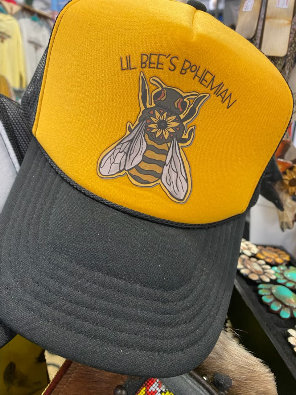 """Ole Hive Tribe"" Lil Bee's Bohemian Bumble Bee Logo Trucker Hat"