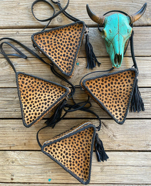 """Ole Love Triangle"" Hair on Hide Cheetah Print Braided Leather Triangle Crossbody Purse"