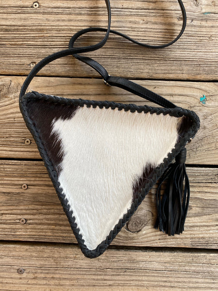 """Ole Love Triangle"" Hair on Hide Cow Puncher Print Braided Leather Triangle Crossbody Purse"