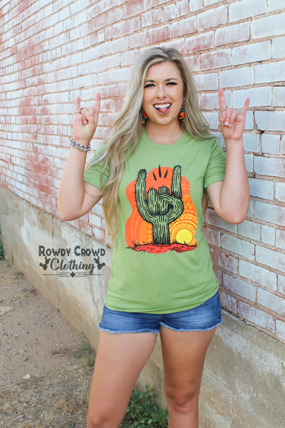 """Ole Rock On"" Tribal Sun Desert Cactus Rock Tee"