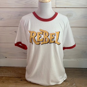 """Ole Rebel Yell"" Ringer Style Graphic Tee"