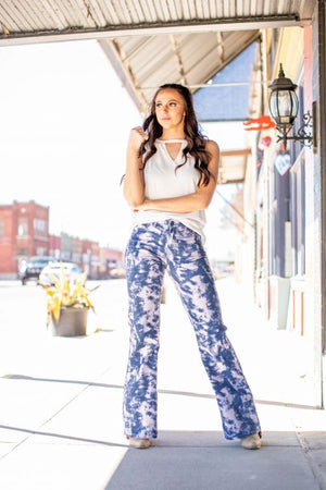 """Ole Acid Washed"" Bleached Out Print Wide Leg Jeans"