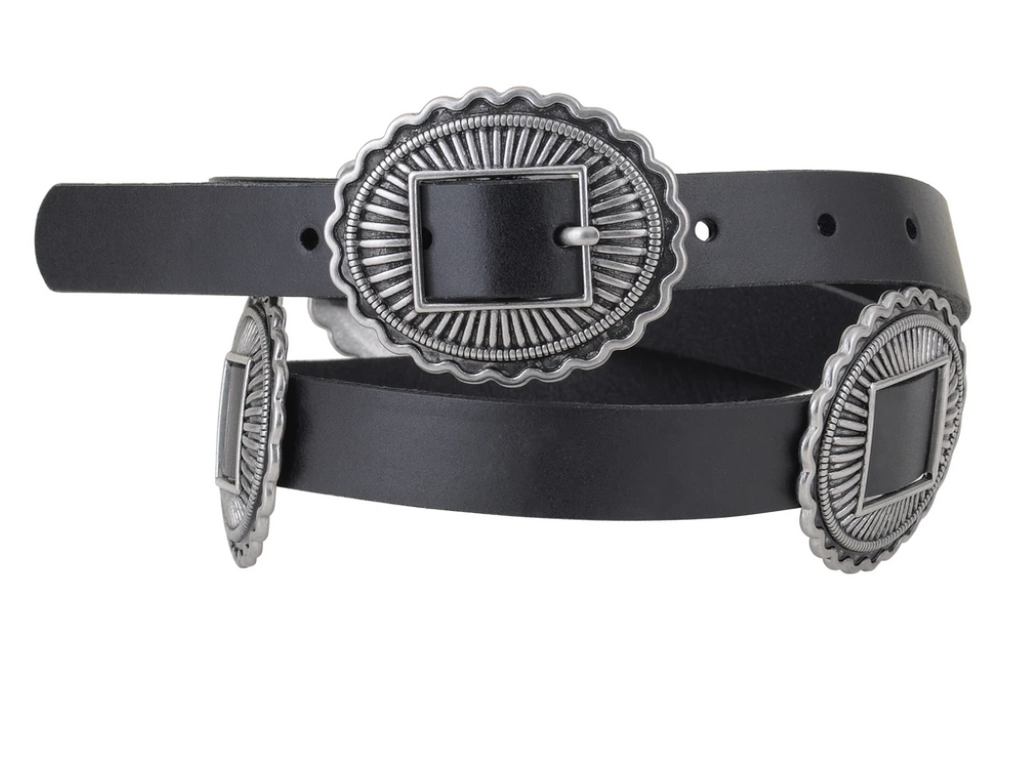 """Ole Davenport"" Black Leather Concho Belt"