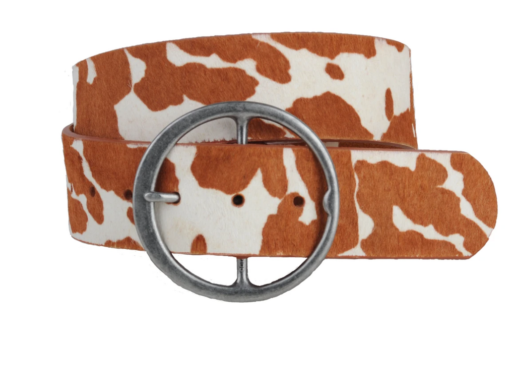 """Ole Cow Puncher"" Brown & White Cowhide Circle Buckle Belt ~ 2 Inch Wide"